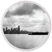 Black And White Panorama Of Seattle Skyline Reflected On The Bay Round Beach Towel