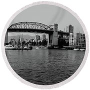 black and white panorama of Vancouver from plaza of nations showing the beautiful city Round Beach Towel
