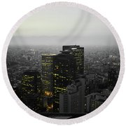Black And White Tokyo Skyline At Night With Vibrant Selective Yellow Colors Round Beach Towel