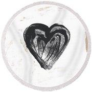 Black Heart- Art By Linda Woods Round Beach Towel