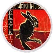 Black Ivory Rabbit Round Beach Towel