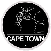 Black Map Of Cape Town Round Beach Towel