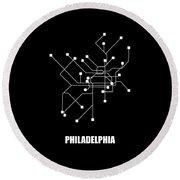 Black Philadelphia Subway Map Round Beach Towel