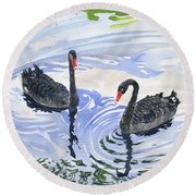 Black Swans - Soulmate Round Beach Towel