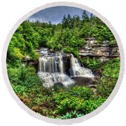 Blackwater Falls, Blackwater Falls State Park, West Virginia Round Beach Towel