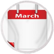 Blank March Date Round Beach Towel
