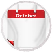 Blank October Date Round Beach Towel