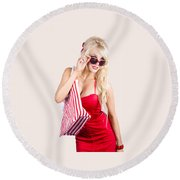 Blond Woman Shopping Round Beach Towel