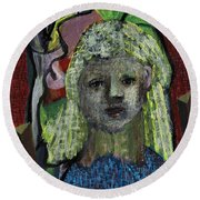 Blonde Girl Round Beach Towel