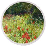 Blooming Field Round Beach Towel