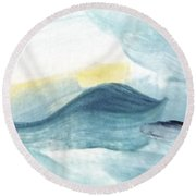 Blue #8 Round Beach Towel