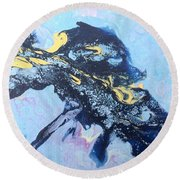 Blue Abstract #3 Round Beach Towel