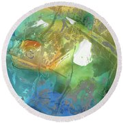 Blue And Orange Abstract Art - Color Menagerie - Sharon Cummings  Round Beach Towel by Sharon Cummings