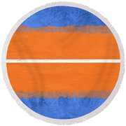 Blue And Orange Abstract Theme Iv Round Beach Towel
