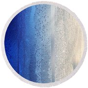 Blue And Silver Round Beach Towel