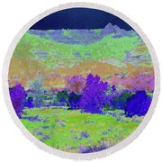 Blue Badlands Rhapsody Round Beach Towel