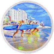 Blue Board Fast Into Ocean Round Beach Towel