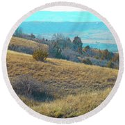 Blue Butte Prairie Reverie Round Beach Towel