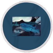 Blue Fish Round Beach Towel by Maria Langgle