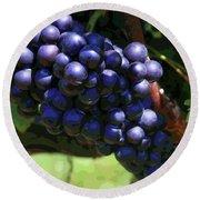 Blue Grape Bunches 5 Round Beach Towel
