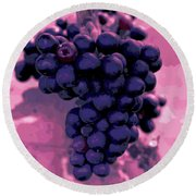 Blue Grape Bunches 6 Round Beach Towel