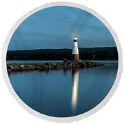 Blue Hour Lighthouse Round Beach Towel by Rod Best
