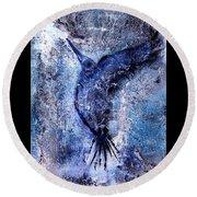 Blue Hummingbird Round Beach Towel