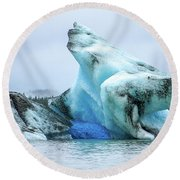 Blue Ice, Mendenhall Glacier Round Beach Towel by Dawn Richards