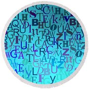 Blue Letters Over Blue Backlight Round Beach Towel