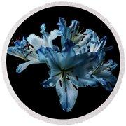 Blue Lilies Round Beach Towel