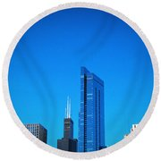 Blue Middle Round Beach Towel by Robert Knight