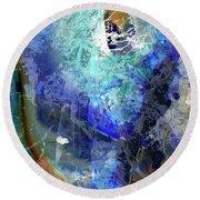 Blue Modern Abstract Art - Desires - Sharon Cummings Round Beach Towel by Sharon Cummings