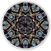 Blue Pattern Round Beach Towel