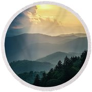 Blue Ridge Parkway Nc From Above Round Beach Towel