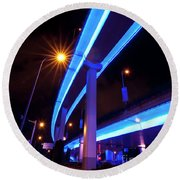 Blue Road At Night Round Beach Towel