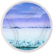 Blue Sky, White Field Round Beach Towel
