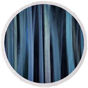 Blue Trees 1 Round Beach Towel