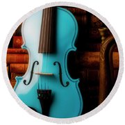 Blue Violin And Old Books Round Beach Towel