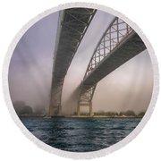 Blue Water Bridge Fog Round Beach Towel