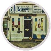 Blues Town Music Store Round Beach Towel