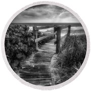 Boardwalk To The Sea In Radiant Black And White Round Beach Towel