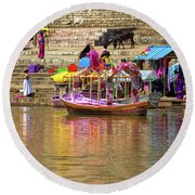 Boat And Bank Of The Narmada River, India Round Beach Towel