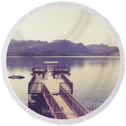 Boat Dock Tonto National Forest Round Beach Towel