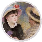 Boating Couple  Said To Be Aline Charigot And Renoir      Round Beach Towel