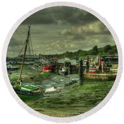 Boats At Leigh On Sea  Round Beach Towel