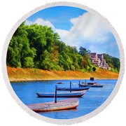 Boats At The Ferry Crossing Painting Round Beach Towel