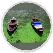 Boats On Algae, In Santarem, Brazil. Round Beach Towel