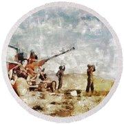 Bofors, Desert War, Wwii Round Beach Towel