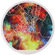 Bogota Colombia Watercolor City Street Map Round Beach Towel