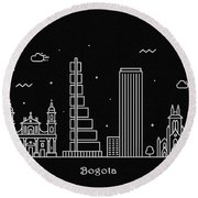 Bogota Skyline Travel Poster Round Beach Towel